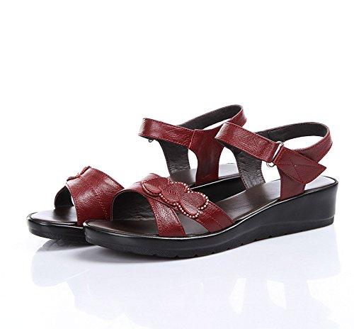Donyyyy Zapatos de mujer, sandalias de verano, de fondo plano, de mediana edad y madre vieja, zapatos cómodos y skidproof mujer. Forty