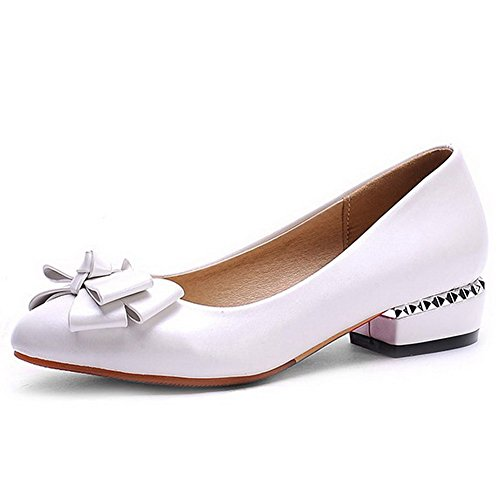 AllhqFashion Damen Rein Niedriger Absatz PU Leder Ziehen auf Stiefel, Weiß, 41