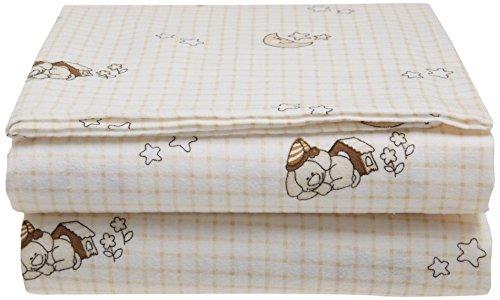 Junior Joy Cot Flannelette Sheets, Beige