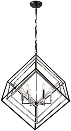 33.4 Silver Cage Cube Geometric Pendant 6 Light with Metal Shade Modern Industrial Candle Style Hanging Ceiling Light