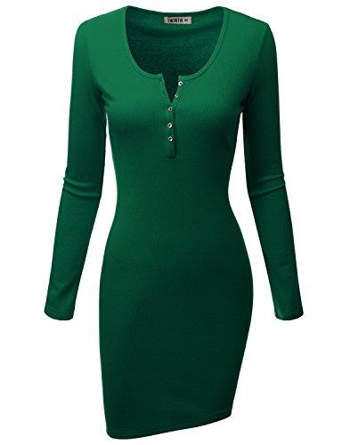 Doublju Women Fashionable Longsleeve Skinny Fit Rib Cotton Knit Henley Dress KELLYGREEN,XL