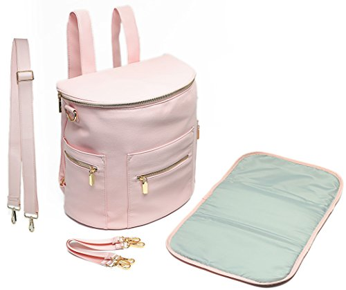 (Leather Diaper Bag Backpack by Miss Fong, Diaper Backpack with Changing Pad,Wipes Pouch,Diaper Bag Organizer,Stroller Straps and Insulated Pockets (Blush Pink))