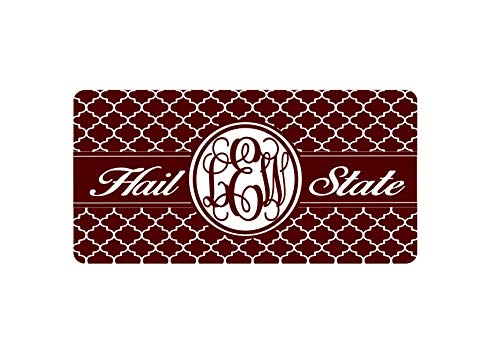 Fhdang Decor Quatrefoil Mississippi State Car Tag, MSU Bulldogs, Hail State License Plate, Birthday Gift, Graduation Gift, New Car Gift, 6