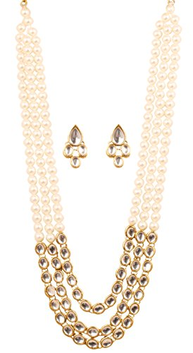 Touchstone Contemporary Kundan Collection Indian bollywood look/faux pearls bridal jewelry necklace in antique gold tone for women (Contemporary Faux Necklace)