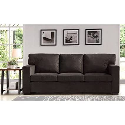Upholstered Sofa Couch, Plush Pocketed Coil Cushions, Sturdy Steel Frame,  Polyester Base Fabric