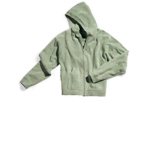 Hammacher Schlemmer The Superior Softness Spa Wear - Zip Hoodie Shirt (Sage, 1X) - Superior Spas