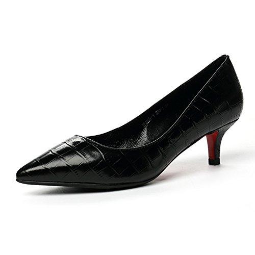 PUMPS Die Mittlere Ferse der Schuhe frau2017herbst New Work Leder Light Mouth Schuhe Professional Heels Weiblich Schwarz-A Fußlänge=22.3CM(8.8Inch)