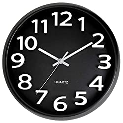 Bernhard Products Large Black Wall Clock, Silent Non Ticking - 13 Inch Quality Quartz Battery Operated Round Modern Style Easy to Read for Office/Home/Living Room/Classroom/School Clock, White Numbers