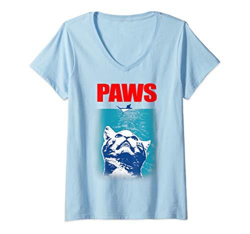 Womens Funny Tee Paws Parody Tees for Cat Kitten Shark & Cat Lovers V-Neck T-Shirt (Kitty Jaws Shirt)