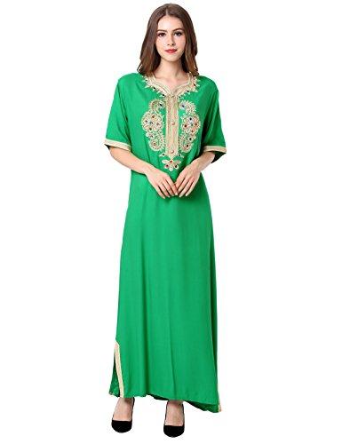 Muslim abaya caftan dubai dress for women Islamic clothing rayon gown jalabiyas (M, Light Green), Light Green, Medium by Baya
