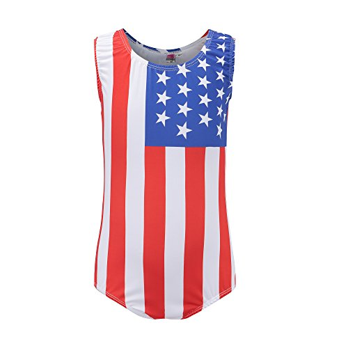 Kql Gymnastics Leotards For Girls Kids USA Flag Ballet Dancewear Star 5-14Y Training Costumes (Tag 10 For 9-10Y, A USA Flag)]()