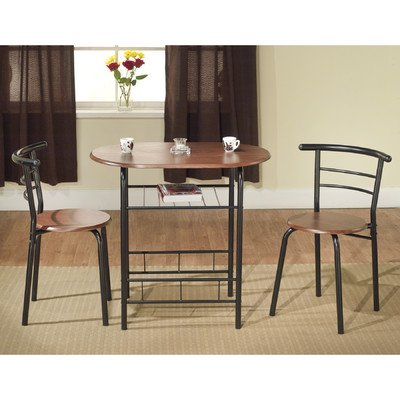 Oval Bistro 3 Piece Compact Dining Set Pack of 3