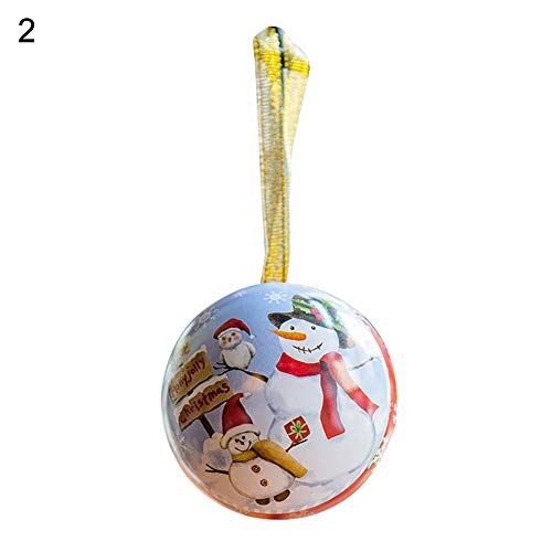 WillowswayW Lovely Christmas Santa Snowman Iron Round Ball Candy Chocolate Box Gift Party Home Hanging Decor