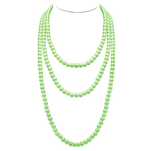 (T-Doreen Long Pearl Necklace for Women Girls 69 Inch Layered Strands Necklace (Green))