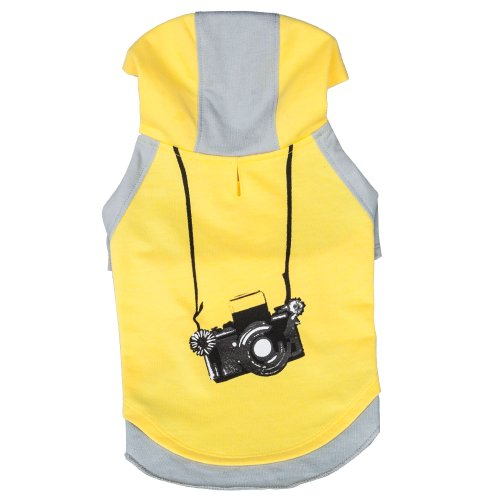 Image of Blueberry Pet Cotton Dog Camera Hoodie in Grey & Yellow for Puppy, Back Length 8