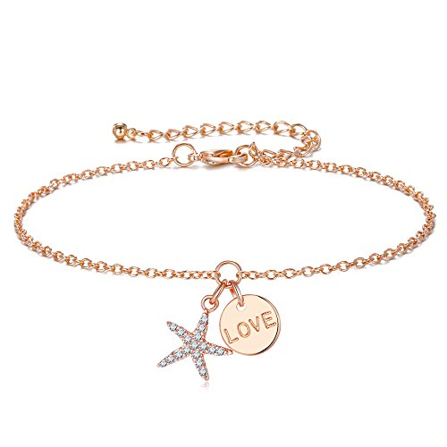 Designer Gold Anklet (Forever & Ever Starfish Rose Gold Anklets for Women - Exquisite Keep color long time Foot chain, 18K Rose Gold Electroplate Brass, Cross Chain length 21+5 cm(8.3+2 inch) Adjustable Anklet for Girls)