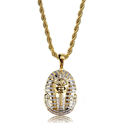 TOPGRILLZ Men 14K Gold Plated Iced out CZ Simulated DIamond Big Stones Crown Jesus Piece, Pharaoh,Prayer Hand Cross Pendant Necklace with Stainless Steel Chain Hip Hop (Pharaoh) -