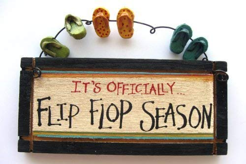 (It's Officially Flip Flop Season Wood Sign with Sandals )