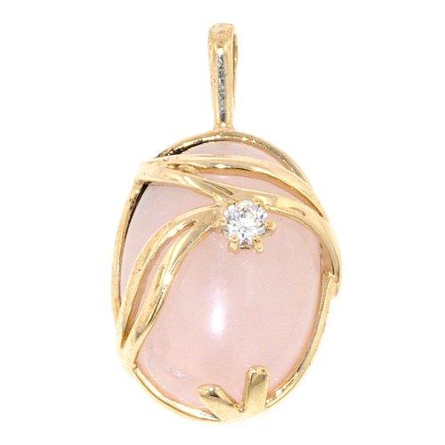 9ct or quartz rose et CZ Pendentif entrelacé