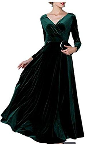 de Mujer Elegantes Vestido SHUNLIU Talla de con Mujer Noche Verde Vestido Largos Vestidos Grande Vestido Mangas Largas Fiesta wRfBqF