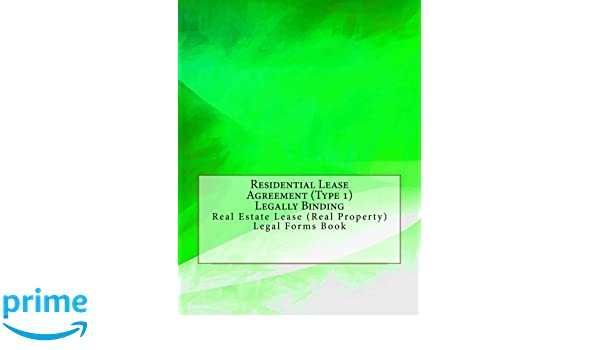 Residential Lease Agreement Type 1 Legally Binding Real Estate