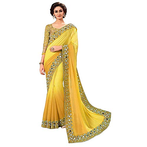 jashvi creation Faux Georgette Saree With Blouse Piece