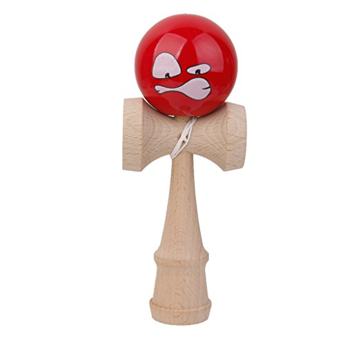 MagiDeal Wooden Facial Kendama Toys with Extra String- Red