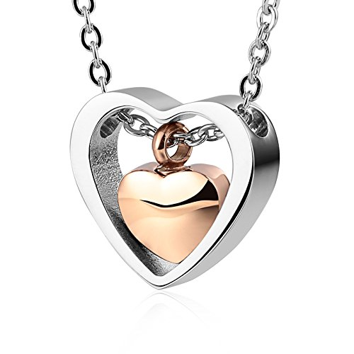 Aeici Jewelry Memorial Urn Necklace Ashes Keepsake Stainless Steel Pendant Double Heart Rose Gold from Aeici