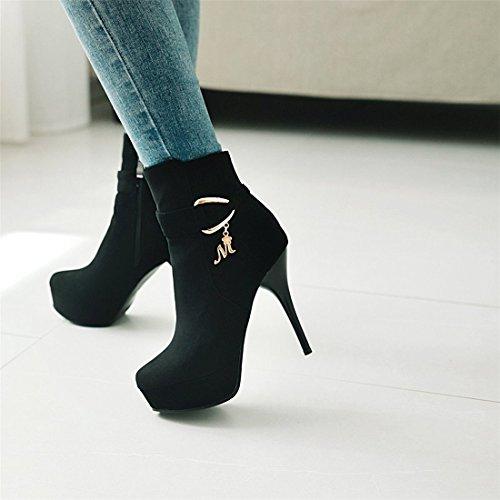 stivali laterali tavola pelle in stivali scamosciata con cerniera tubo black bassi super alti Stivaletti sexy a stivali impermeabili da xwHv0X4qA