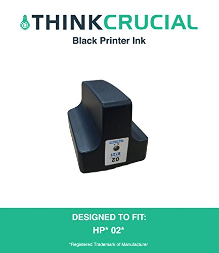 Replacement Black Toner Ink Cartridge, Fits HP Photosmart Printers, Part C8721WN, HP 02, by Think Crucial