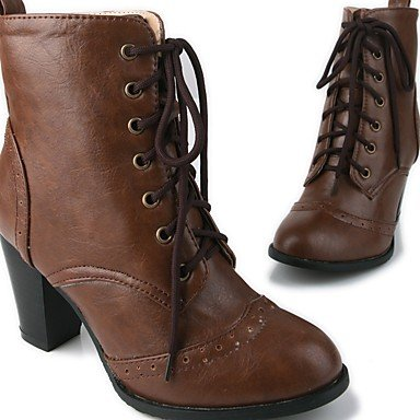 RTRY Women's Shoes PU Leatherette Fall Winter Comfort Novelty Fashion Boots Boots Chunky Heel Round Toe Booties/Ankle Boots Lace-up For Party US12.5 / EU45 / UK10.5 / CN47 SPSKTI