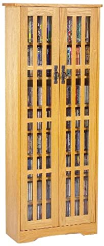 Leslie Dame M-477 High-Capacity Inlaid Glass Mission Style Multimedia Storage Cabinet, Oak (Cd Cabinet Mission)