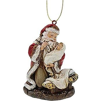 Set of 6 Heart Shaped Kneeling Adoring Santa Decoupage Christmas Tree Ornament,
