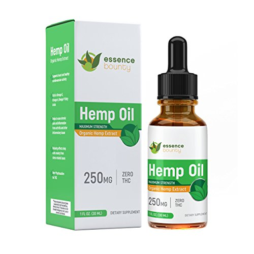 Hemp Oil Extract - All-Natural Premium Formula - 8.33MG Per Serving - Promotes Relaxation - Organic Anti-Anxiety - One Month Supply - Essence Bounty