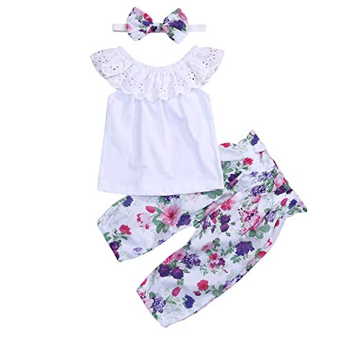 Toddler Baby Girls Lace Ruffle Shirt Top +Floral Pants Set Bowknot Headband 3PCS Easter Clothing (White & Purple Floral, 12-18 Months)