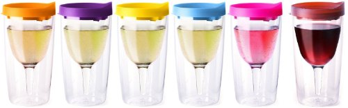 Pastel Colors Set Slide Top Lid Vino2Go Pack of 6 Adult Drink Wine Sippy Cup Tumblers