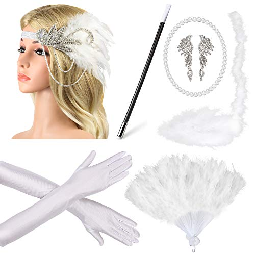 Beelittle 1920s Accessories Headband Earrings Necklace Gloves Expandable Cigarette Holder (A1) -