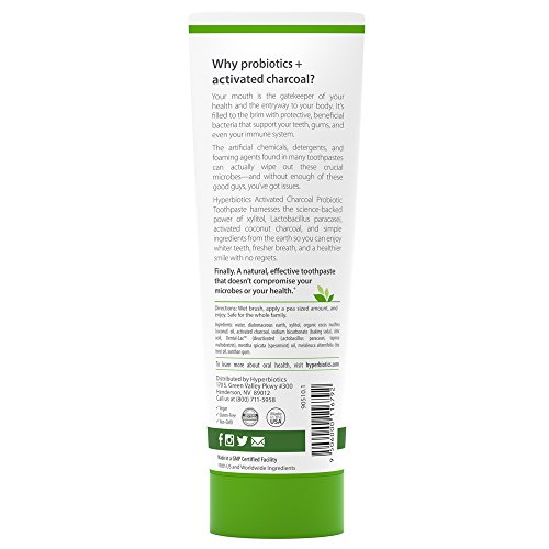 Probiotic Charcoal Toothpaste: All Natural with Xylitol and Organic Coconut Oil - Fluoride Free - Spearmint (4oz) by Hyperbiotics (Image #1)'