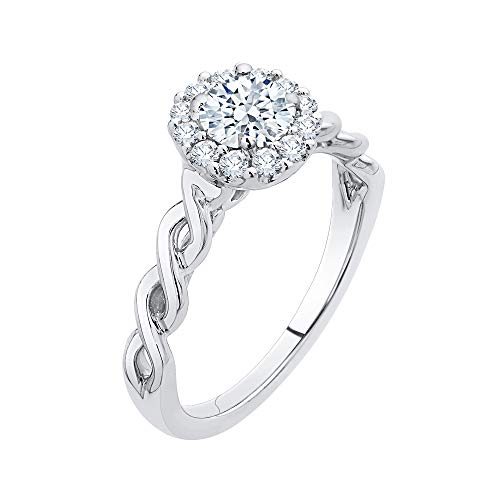 KATARINA Diamond Twisted Shank Infinity Halo Ring in Sterling Silver (3/4 cttw, J-K, SI2-I1) (Size-6) ()
