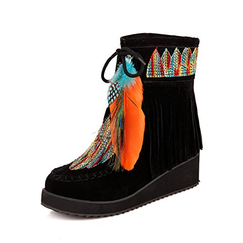 Black Embroidered Womens 1TO9 Urethane Tassels Platform Boots UPRYqw1