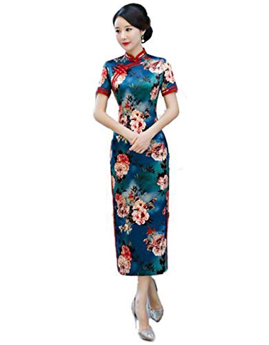 Womens Chinese Traditional Dress Qipao Cheongsam Stand Collar Short Sleeves for Party (Dark Blue,XXL) ()