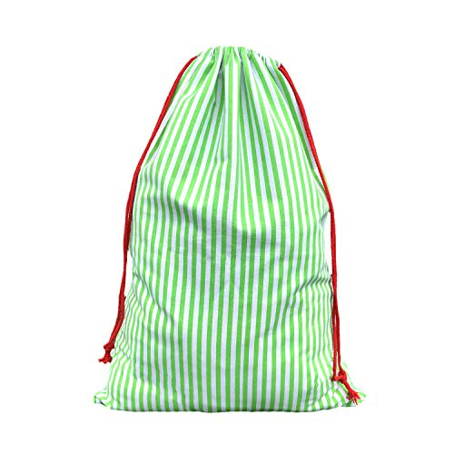 (MONOBLANKS Canvas Green Stripe Christmas Santa Sack, Bag Santa Bag Canvas with Drawstring Personalized Best Gifts Bags for Home Familys (Green Stripe))
