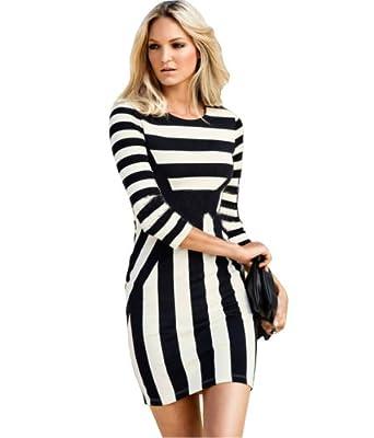 234f208d Women's Celeb White Striped Optical Illusion Bodycon Dress (UK Size 16,  Black)