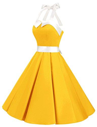 Retro Flores Halter Lunares Yellow Solid Cuello Vestidos y Estampado Corto 50s Fiesta Rockabilly 60s Vintage Mujer Dressystar qwxTzgFW