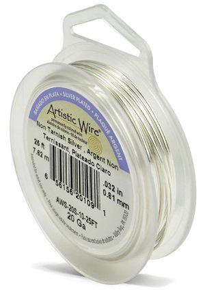 Artistic Wire 20-Gauge Tarnish Resistant Silver Coil Wire, 25-Feet ()