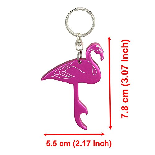 Pickup Swatom Flamingo style bottle opener keychain, Key Tag Chain Ring, 6 Piece lowestprice