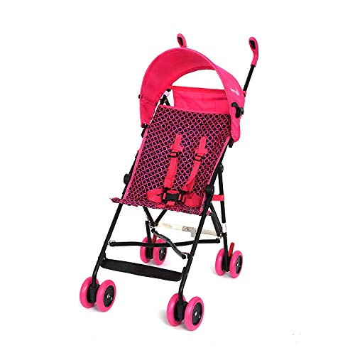 WonderBuggy H Skylar Jumbo Umbrella Stroller, Round Adjustable Canopy, Hot Pink Pattern, Large