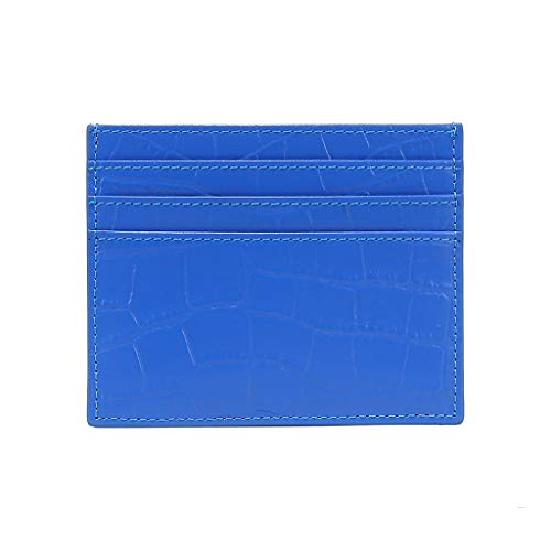 niumanery Slim RFID Blocking Card Holder Alligator Pattern Front Pocket Credit ID Case Cover Bag Wallet Accesories Men Women Gift Blue