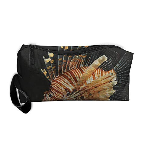 Lion Fish Pattern Makeup Bag Printing Girl Women Travel Portable Cosmetic Bag Sewing Kit Stationery Bags Feature Storage Pouch Bag Multi-Function Bag