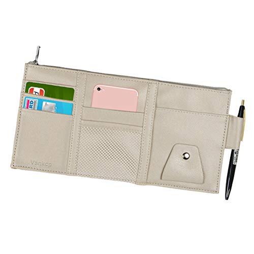 Vankcp Car Sun Visor Organizer, Auto Interior Accessories Sunglass Pen CD Card Small Document Storage Pouch Holder, PU Leather, Multi-Pocket with Zipper Net (Gray) ()